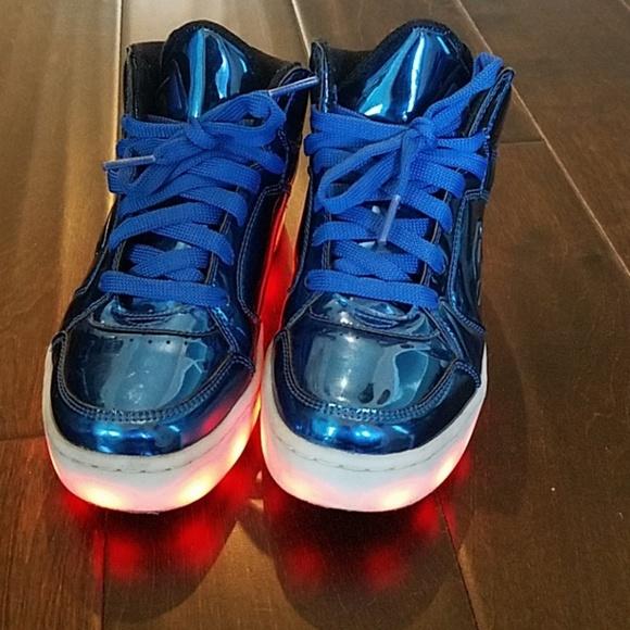 Boys Skechers Blue Metallic Lightup